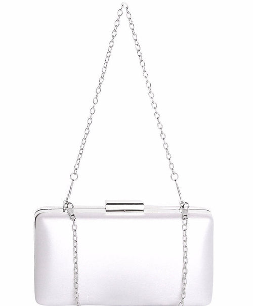 Silver Satin Evening Bag-Jezzelle