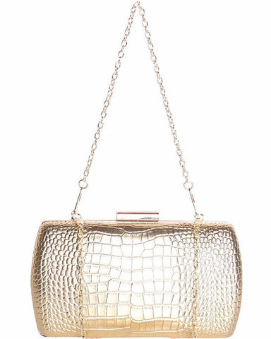 Gold Faux Croc Evening Bag - Jezzelle