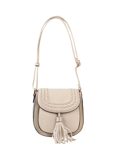 Beige Braided Shoulder Bag - Jezzelle