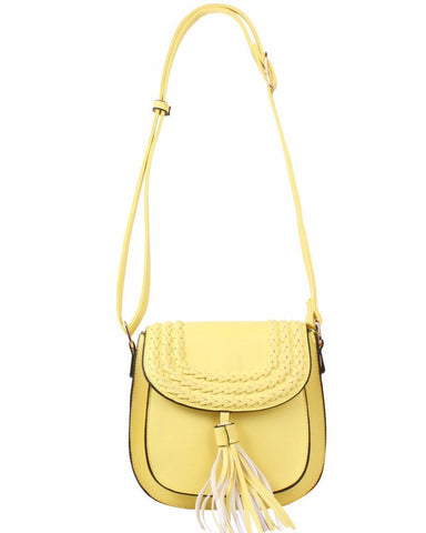 Yellow Braided Shoulder Bag-Jezzelle