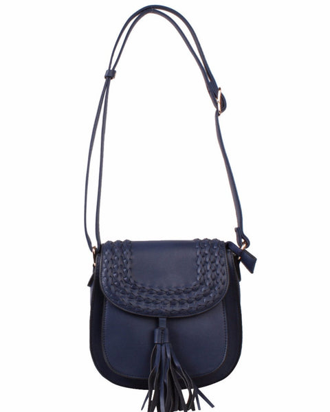 Navy Braided Shoulder Bag-Jezzelle