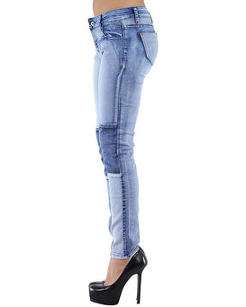 Mixed Denim Patchwork Jeans-Jezzelle
