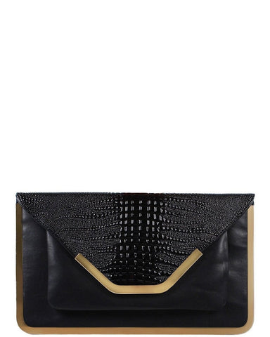 Gold Metal Trim Clutch Bag - Jezzelle
