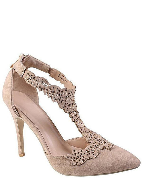 Encrusted Cut Out T-Bar Nude Shoes - Jezzelle