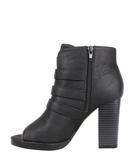 Buckles and Zip Details Peep-toe Ankle Boots - jezzelle  - 2