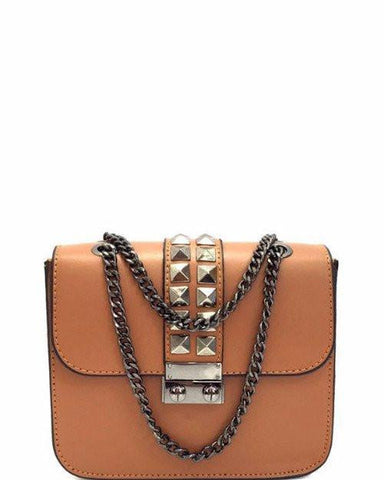 Studded Leather Camel Shoulder Bag - Jezzelle