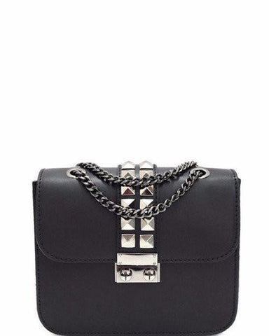 Genuine Leather Studded Black Shoulder Bag - jezzelle  - 1