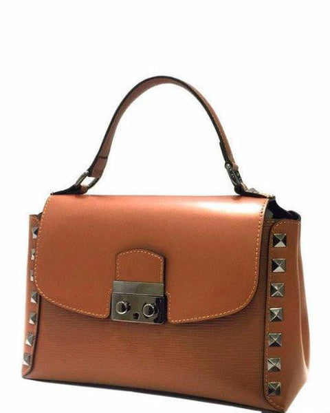 100% Leather Studded Small Tote Bag - Jezzelle