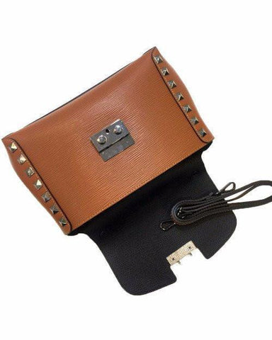 Genuine Leather Studded Small Tote Bag - jezzelle  - 2