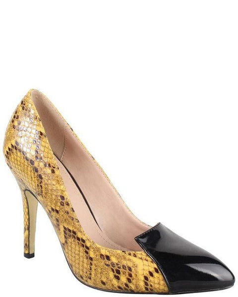 Yellow Snake High Heel Shoes - Jezzelle