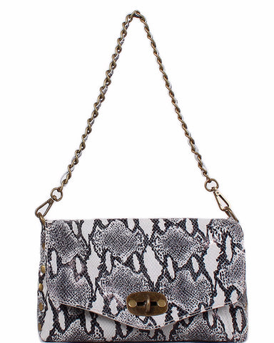 Python Print 100% Leather Studded Shoulder Bag - Jezzelle