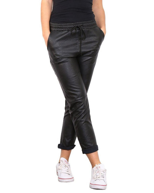 Faux Leather Drawstring Trousers-Jezzelle