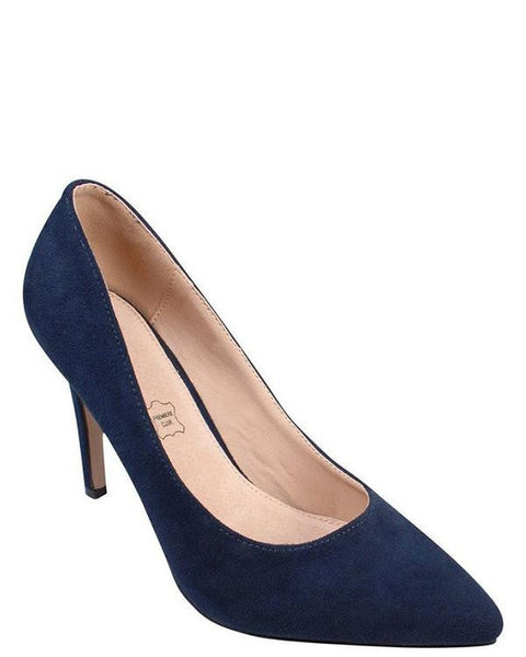 Navy Faux Suede Pumps - Jezzelle