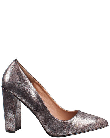 Silver Finish Block Heel Pumps - jezzelle  - 1