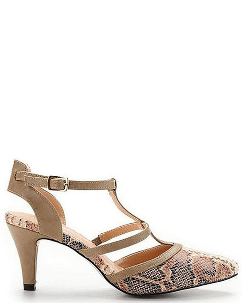 Low Heel Snake Print Shoes-Jezzelle
