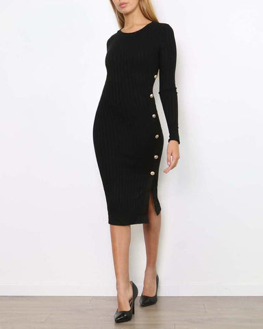 Side button detail Ribbed midi dress - Jezzelle