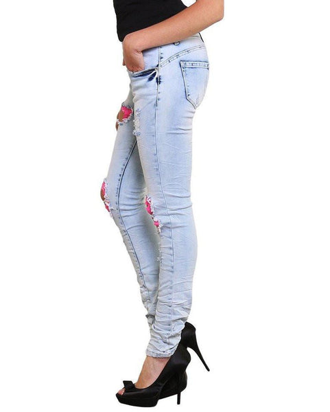 Pink Ripped Bleached Jeans-Jezzelle
