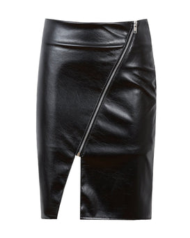Faux Leather Side Split Midi Skirt-Jezzelle