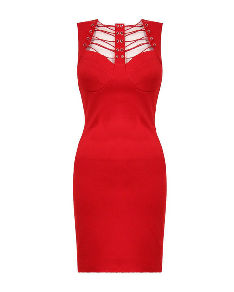 Lace Up Front Bodycon Dress - jezzelle  - 1