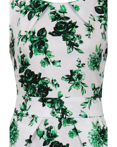Green Floral Print Pleated Drape Dress-Jezzelle