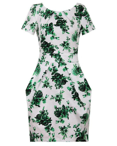 Green Floral Print Pleated Drape Dress - Jezzelle