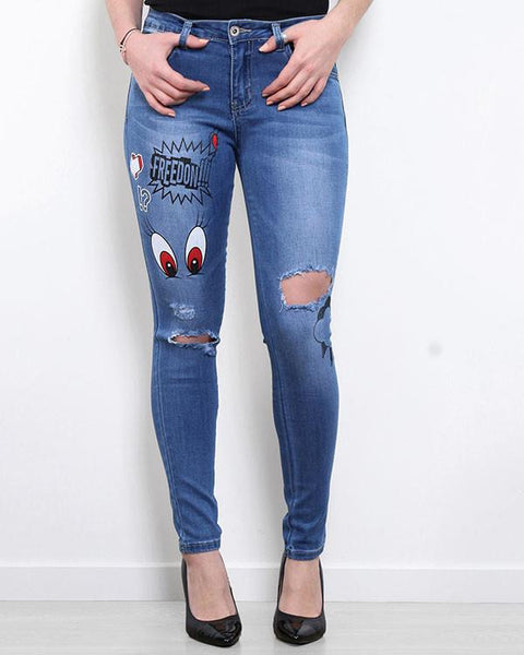 Cartoon Print Ripped Jeans - Jezzelle