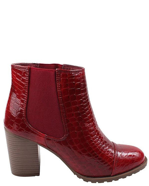 Red Mid Block Heel Ankle Boots - Jezzelle