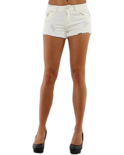 Ripped Cream Denim Shorts-Jezzelle