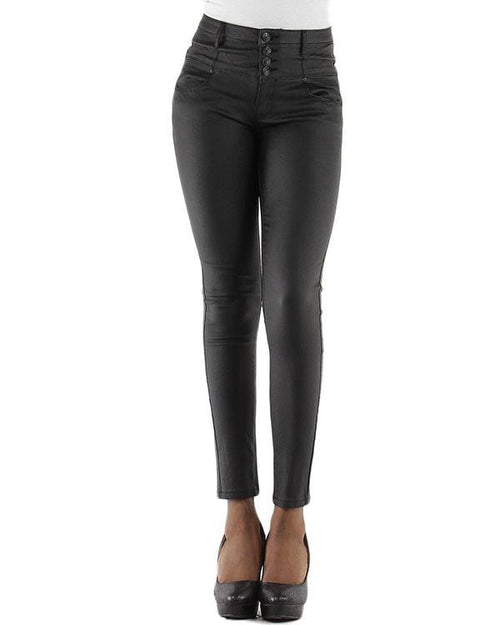 Faux Leather High Waisted Jeans-Jezzelle
