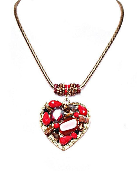 Encrusted Red Heart Necklace - Jezzelle