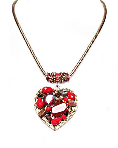 Encrusted Red Heart Necklace