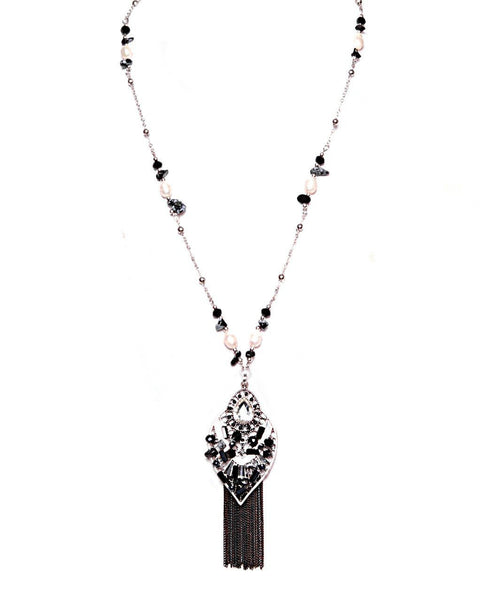 Chain Fringe Long Black Necklace - Jezzelle