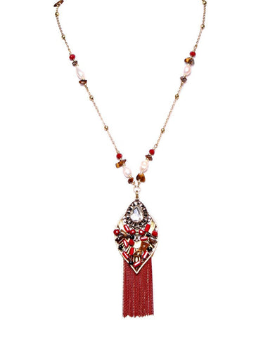 Chain Fringe Long Red Necklace - Jezzelle