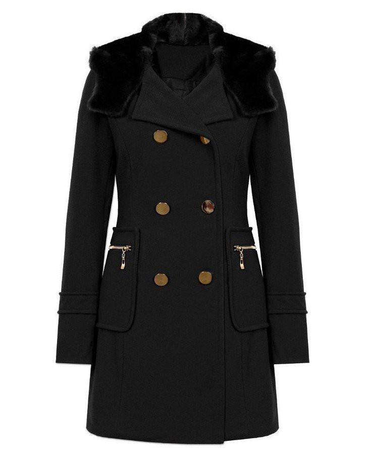 Elegant Faux Fur Collar Hooded Coat-Jezzelle