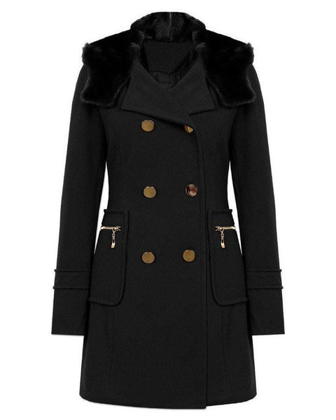 Elegant Faux Fur Collar Hooded Coat - Jezzelle