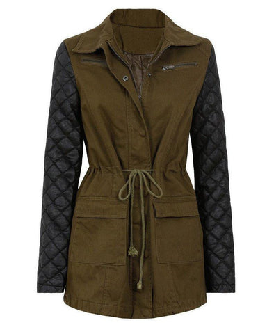 Quilted PVC Sleeves Military Jacket-Jezzelle