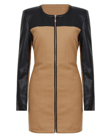 Contrast PVC Sleeve Detail Zip Up Coat - Jezzelle