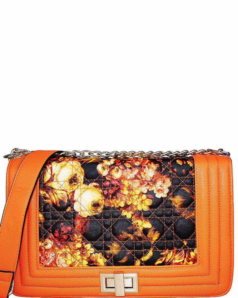 QUILTED ORANGE FLORAL SATCHEL BAG-Jezzelle
