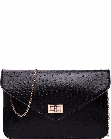 OSTRICH BLACK ENVELOPE CLUTCH BAG - Jezzelle