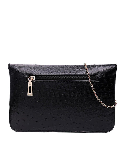 OSTRICH BLACK ENVELOPE CLUTCH BAG-Jezzelle