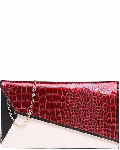 RED PANEL SNAKESKIN CLUTCH BAG - Jezzelle
