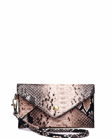 BROWN SNAKESKIN MINI ENVELOPE CLUTCH BAG - Jezzelle