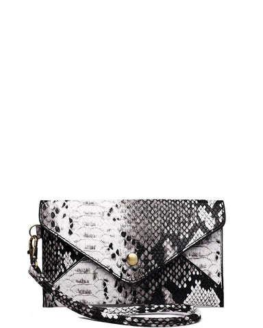 BLACK SNAKESKIN MINI ENVELOPE CLUTCH BAG
