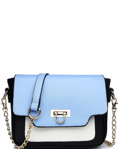 LEATHER STYLE HORSESHOE CLASP BLUE SATCHEL BAG - jezzelle  - 1