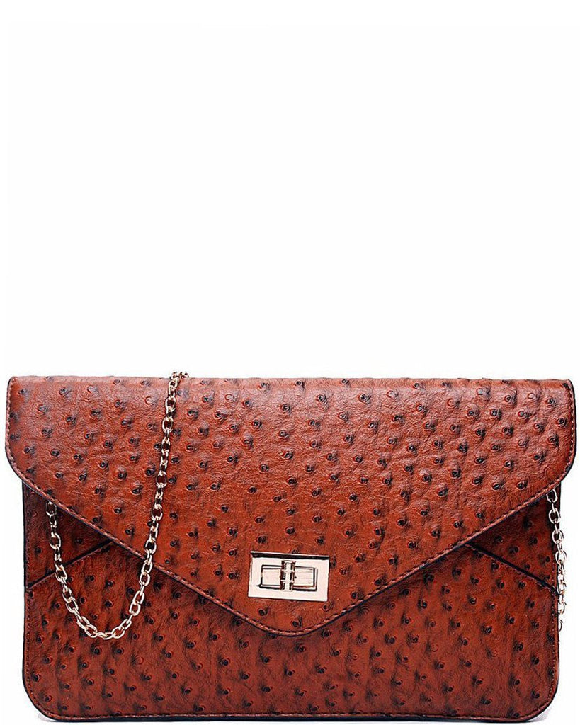 OSTRICH BROWN ENVELOPE CLUTCH BAG-Jezzelle