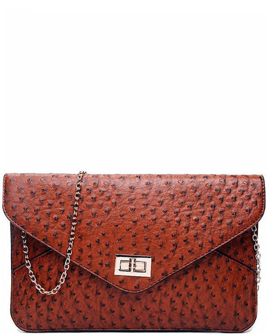 OSTRICH BROWN ENVELOPE CLUTCH BAG - Jezzelle