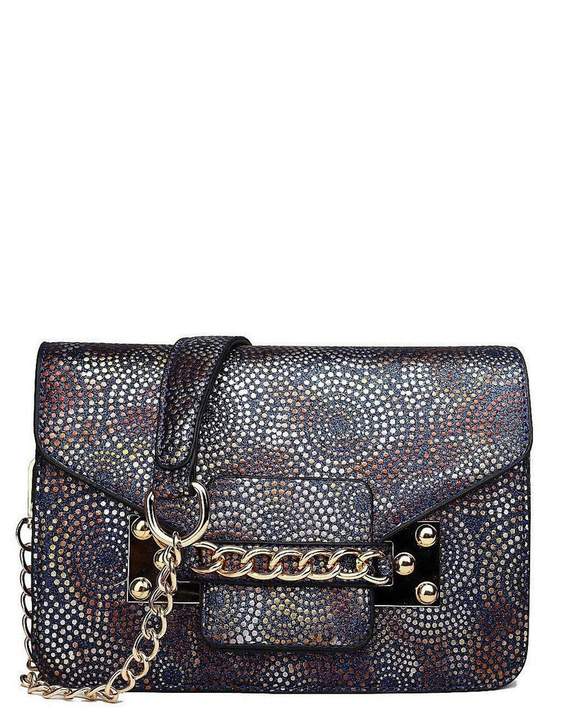 NAVY GLITTER PRINT CHAIN SATCHEL BAG-Jezzelle