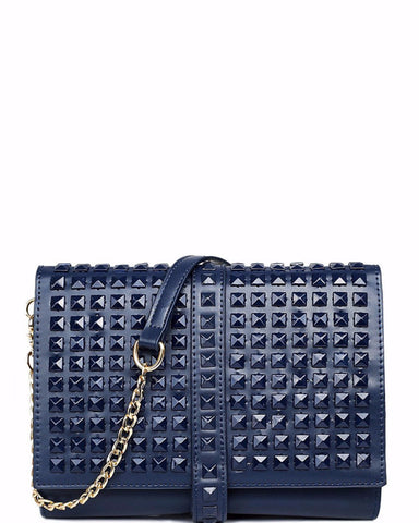 LARGE STUDDED NAVY ROLL UP CLUTCH BAG