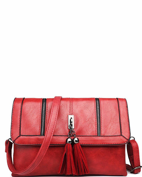 RED LEATHER LOOK TASSEL FRONT SHOULDER BAG - Jezzelle