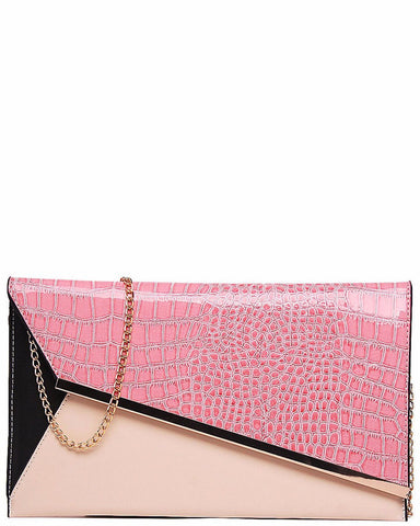 PINK PANEL SNAKESKIN CLUTCH BAG